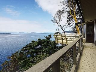 Unparalleled views of the Strait from the deck of the Whale Watch Hideaway.