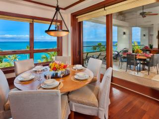 1503 Surfrider at Montage Kapalua Bay - Ocean Front Private Dining Room with Panoramic Beachfront, Oceanfront, Off-shore Islands, and Sunset Views.