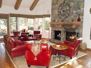 Wonderful open living area with fireplace, lots of windows and large flat screen TV