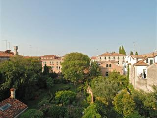 view on gardens from the master bedroom of the Gradenigo apartment