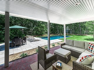 Shady Porch Seating Overlooking Pool & Patio