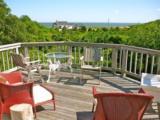 Second level deck provides elevated views of Cape Cod Bay.