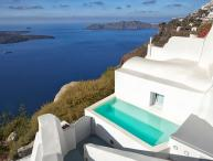 BlueVillas | Villa Olivine | Outdoor jacuzzi plunge pool & amazing volcano view