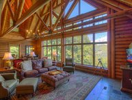 5BR Elegant Cabin in Valle Crucis Area of Boone, Views, Hot Tub, Sauna, Game Table, Walk to Watauga River