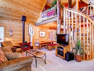 3 BR/2.5 BA, unique private log cabin home for 8, private hot tub, pets friendly