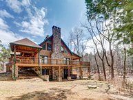 Creek-front Log Mansion With Heated Outdoor Pool and Hot Tub