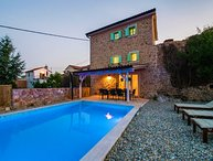 Rustic stone villa with pool for rent Krk